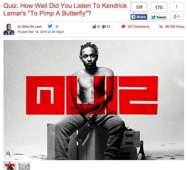 An look at the Kendrick Lamar quiz that went viral