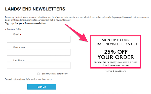 An example of how Land End get more subscribers by making offers