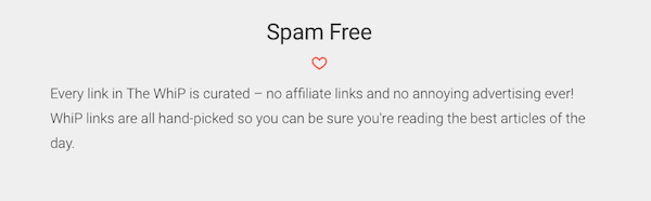 An example of stating your spam free