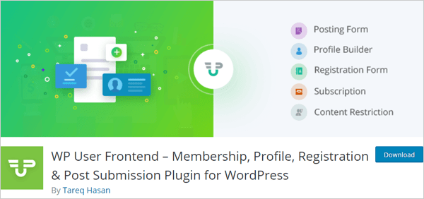 WP User Frontend – Membership, Profile, Registration & Post Submission Plugin for WordPress