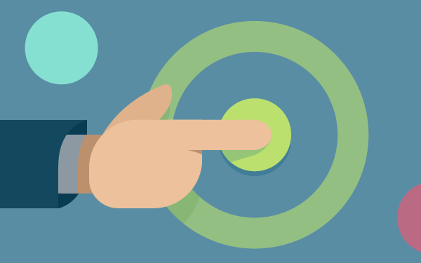 A hand stretched out with its forefinger on a target middle circle
