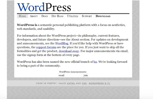 old school wordpress in action