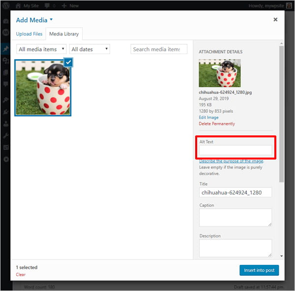 Screenshot of WordPress Add Media screen highlighting Alt Text input field.