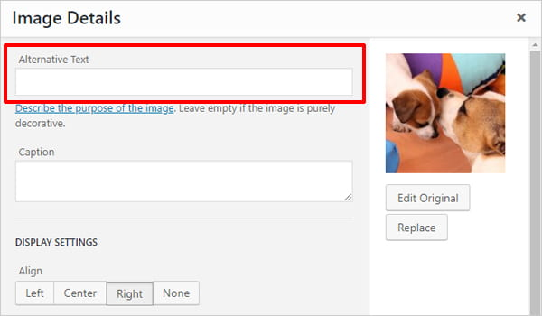 WordPress image editor: alternative text input field