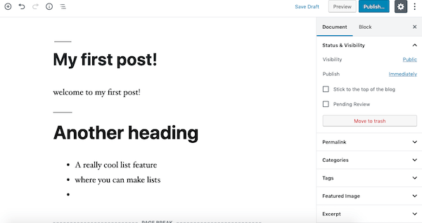A look at what your first post might look like on WordPress