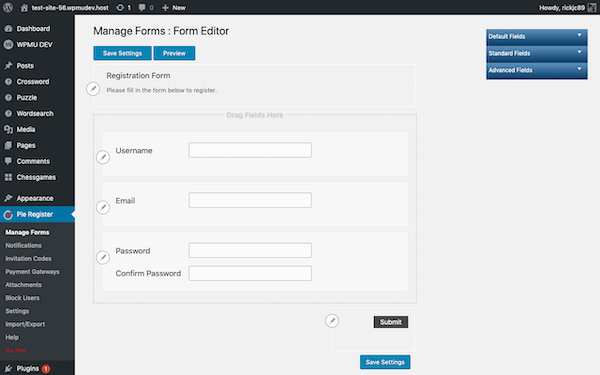 Select which fields you'd like to feature on your registration page