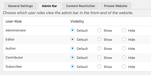 Choose who sees the admin bar while logged into wordpress