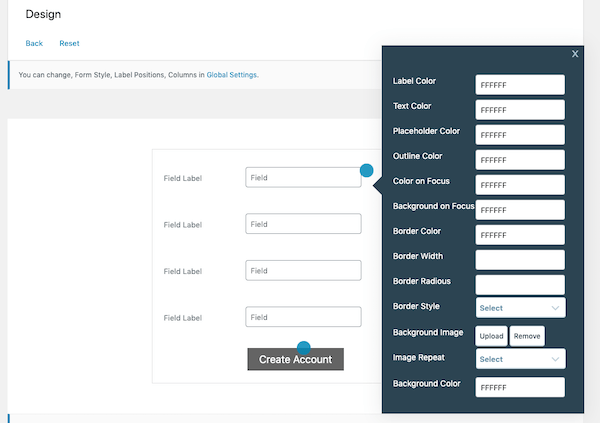 Adjust the design of your form and fields