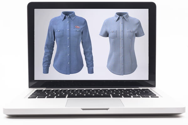 Laptop screen with images of women's shirts.