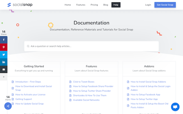 the social snap documentation and help page