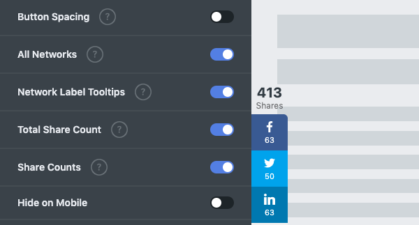 Adjust the settings of your social share buttons