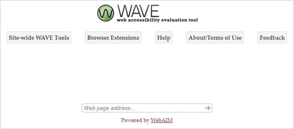 Home screen of Wave web accessibility evaluation tool.