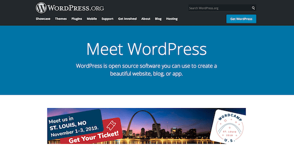 A look at the website of wordpress