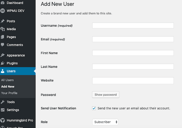 add and manage users of your website or blog