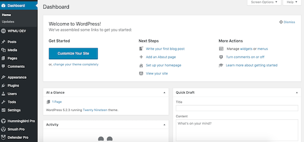 A look at the wordpress dashboard
