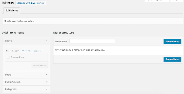 adjust your website's menus