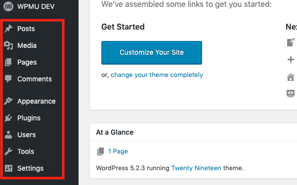 a look at the wordpress side menu