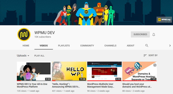 WPMU DEV's YouTube Channel Screenshot