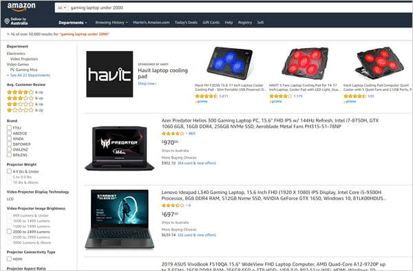Amazon product results page.