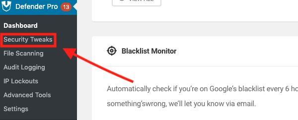 Or select security tweaks from the side menu