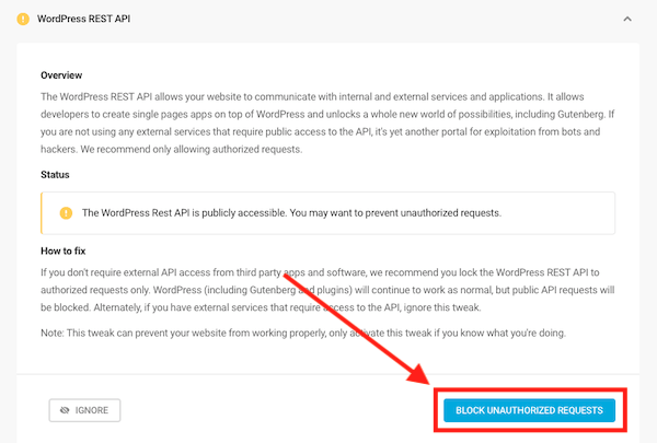 You can choose to block WordPress Rest API
