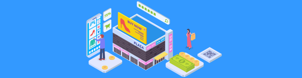eCommerce shop illustration with mobile store, real retail shop and other online shopping elements