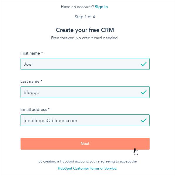 HubSpot account setup form.