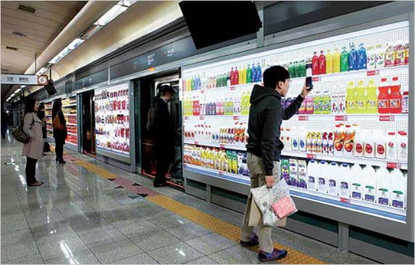 Tesco virtual store inside a Korean subway station.