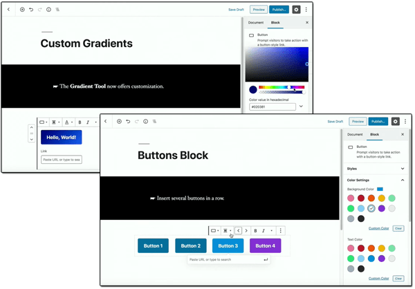 A composite screenshot of Gutenberg Custom Gradients and Buttons Block.