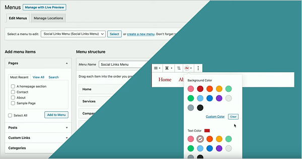 Gutenberg's new menu customization blocks.