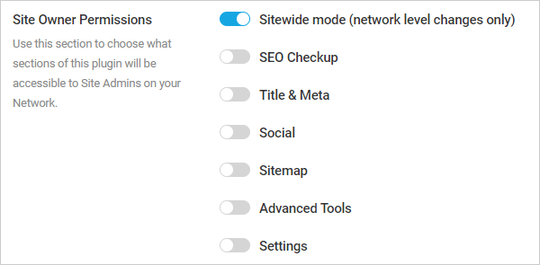 Smart Crawl Site Owners Permissions settings.