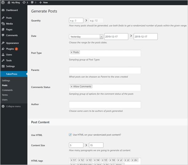 FakerPress WordPress dummy content plugin.