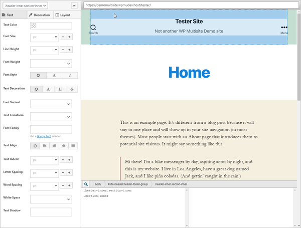SiteOrigin CSS Custom CSS screen.
