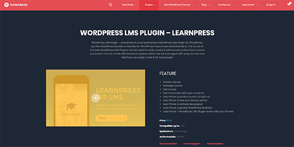 LearnPress homepage.