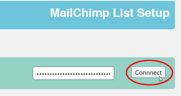 MailChimp List Subscribe Form setting screen.