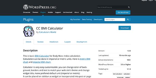 CC BMI Calculator homepage.