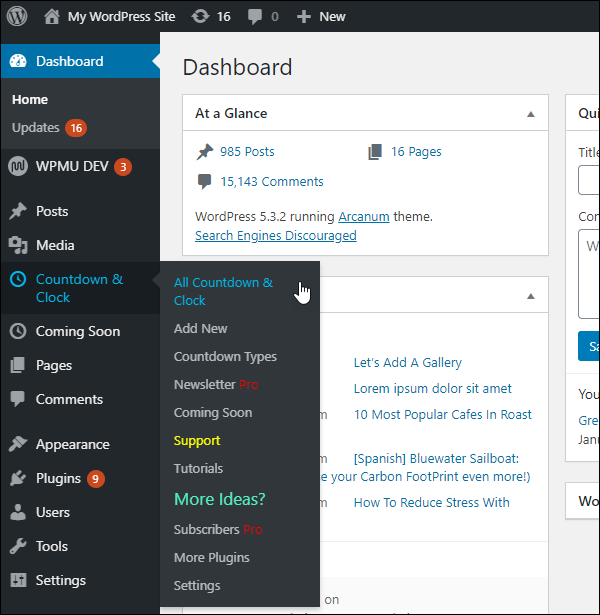Countdown and Coming Soon in dashboard.