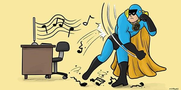 Dev Man punching WordPress autoplay music notes