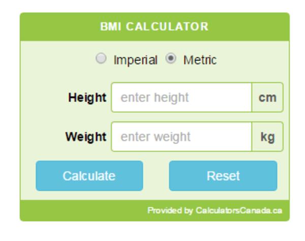 Example of the CC BMI Calculator wordpress plugin.