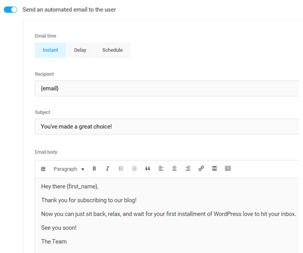 Showing how you can send a welcome email to a new subscriber