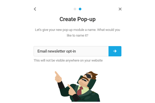 Entering the name for the pop-up, in this case, email newsletter opt-in