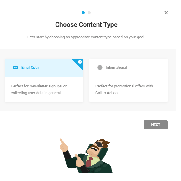 Screen where you can choose the content type - either email or informational