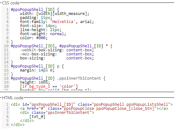 Showing an example of the code which creates the pop-ups.