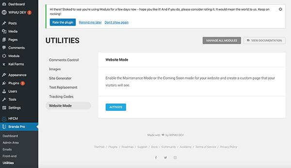 Utilities in Branda for WordPress.