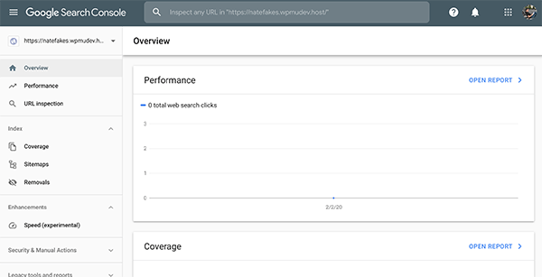 What the Google Search console database looks like.
