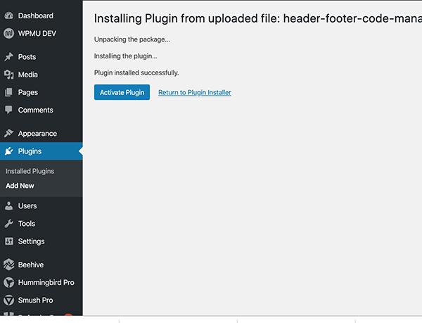 Header Footer Code plugin install screenshot.