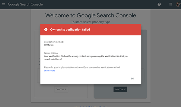 Not verified screen in Google Search Console.