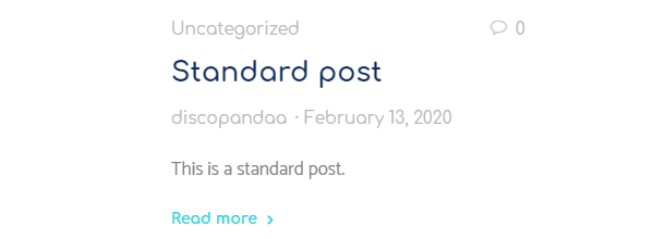 Example of a standard WordPress post format using the arcanum theme