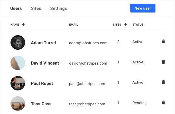 The Hub Users screen.