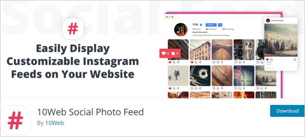 10Web Social Photo Feed Instagram plugin for WordPress.